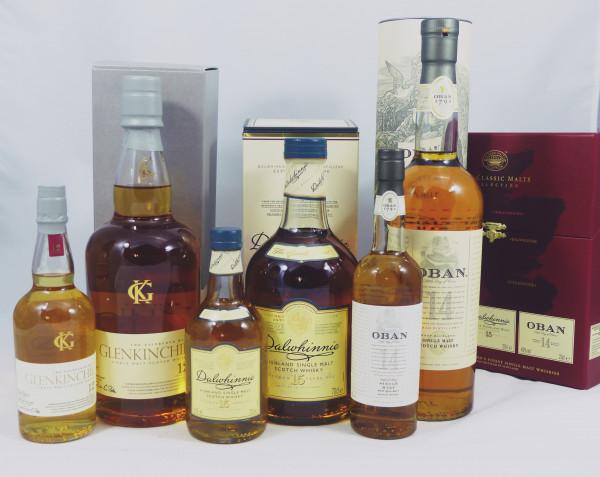 Classic Malts of Scotland - 6 Flaschen Oban Dalwhinnie Glenkinchie je 70cl + 20cl