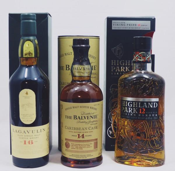 Single Malt Whisky - 3-Regionen-Konvolut (5) -Balvenie Lagavulin Highland Park 3x70cl