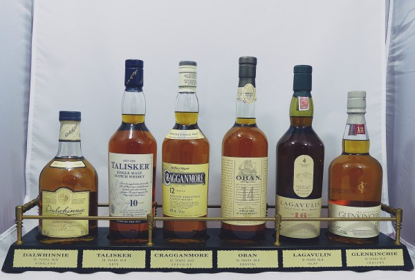 Classic Malts Barständer /-display mit 6 Flaschen Lagavulin Talisker Oban Cragganmore Dalwhinnie Gle