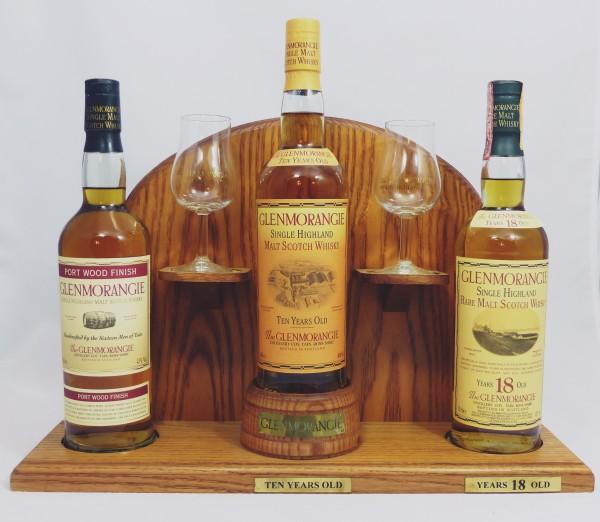 Glenmorangie Barständer /-display mit 3 old Style Flaschen a 70cl + zwei Original Tasting Gläser
