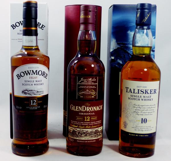 Single Malt Whisky - 3-Regionen-Konvolut (7) - Bowmore 12Y, Talisker 10Y, Glendronach 12Y
