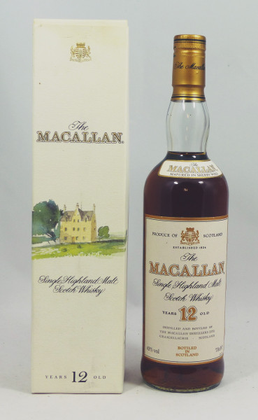 Macallan 12 Jahre Sherry Wood, alte Pergament Label Abfüllung Remy 43%