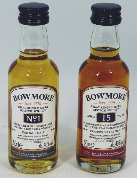 Bowmore Set 15 years and No. 1 Vaults 2 x 5cl - ohne VK