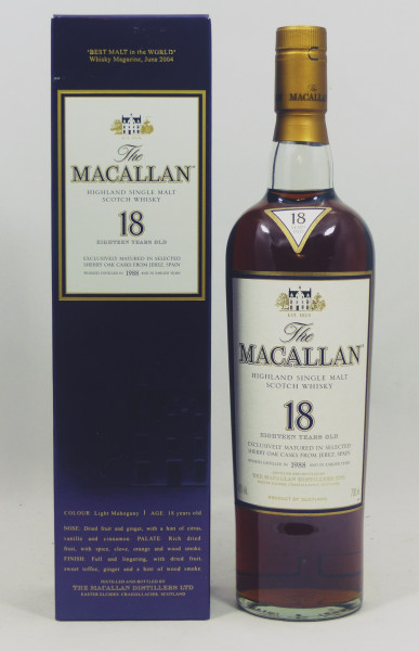 Macallan 18 Jahre 1988 matured in Sherry Oak Casks