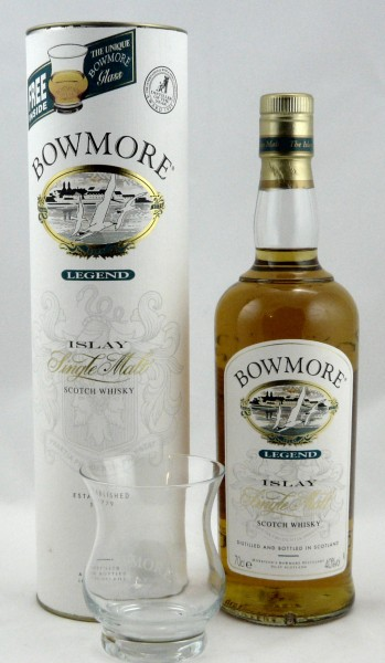 Bowmore Legend old style mit Whiskyglas
