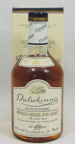 Dalwhinnie 15 Jahre Old label - golden 15 behind 'years old'