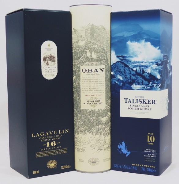 Single Malt Whisky - 3-Regionen-Konvolut (6) - Lagavulin 16Y, Talisker 10Y, Oban 14Y