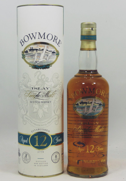 Bowmore 12 Years - old Style - glass printed Label, golden Cap