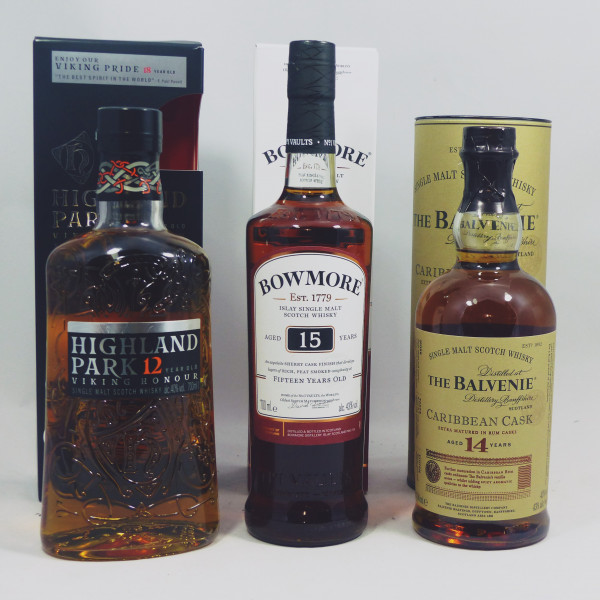 Single Malt Whisky - 3-Regionen-Konvolut (5) -Balvenie 14Y Bowmore 15Y Highland Park 3x70cl