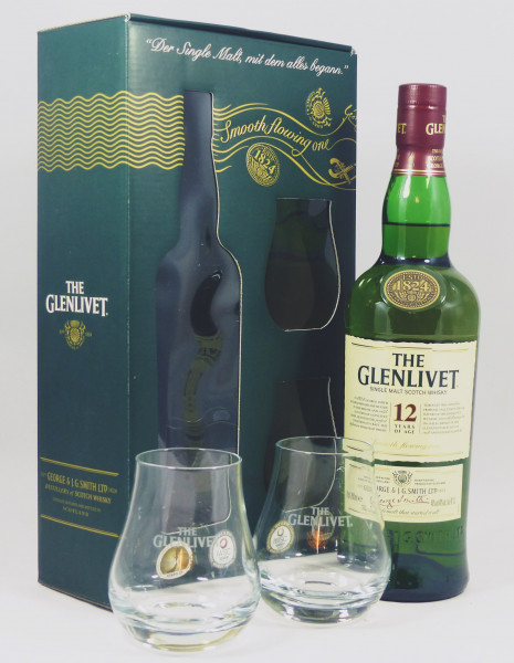 Glenlivet 12 Jahre Geschenkpackung mit 2 Tumblern aus 2011