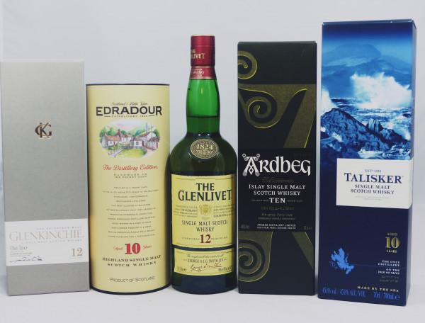 Single Malt Whisky - 5-Regionen-Konvolut (4) - Ardbeg Talisker Glenlivet Edradour Glenkinchie 5x70cl