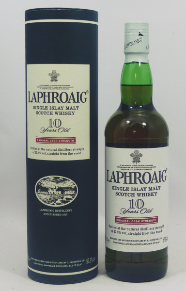 Laphroaig 10 Jahre Original Cask Strength Red Stripe white cap 57,3%