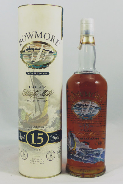 Bowmore Mariner 15 Jahre Glass printed label 1 Liter