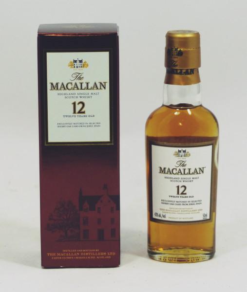 Macallan 12 Jahre alt, Sherry Oak Abfüllung 43% 5cl Miniatur US Import