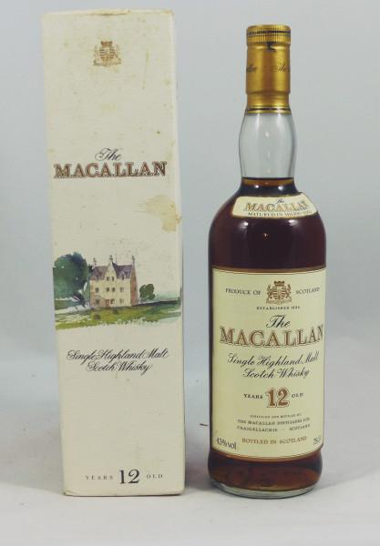 Macallan 12 Jahre Sherry Wood, alte Pergament Label Abfüllung Jumac 43% 75cl