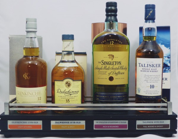 Single Malt Barständer /-display mit 4 Flaschen Dalwhinnie Talisker Glenkinchie Dufftown