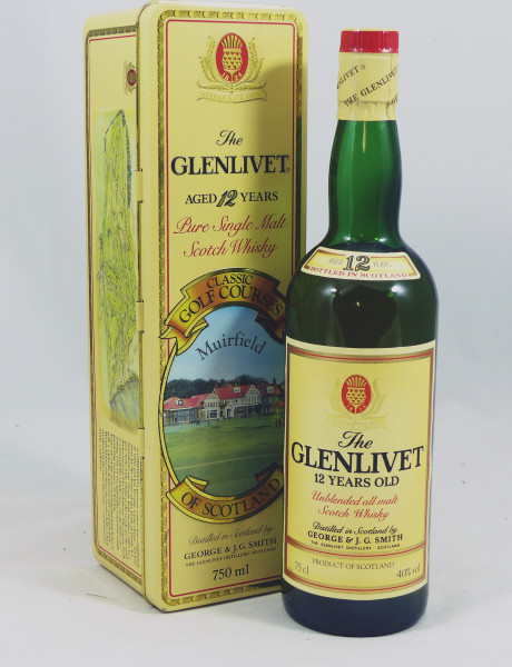 Glenlivet 12 Jahre Unblended All Malt in Box/Tin Golf Courses Muirfield