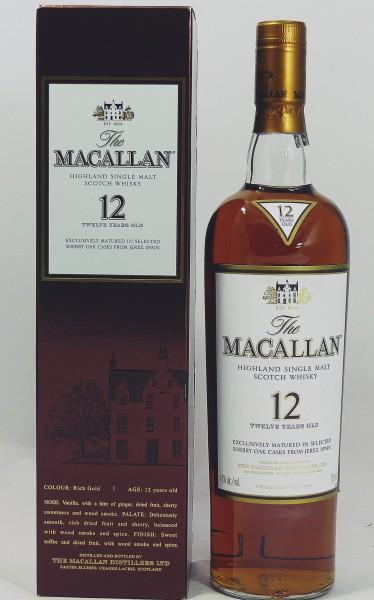 Macallan 12 Jahre alt, Sherry Oak Abfüllung 43% 750ml US Import