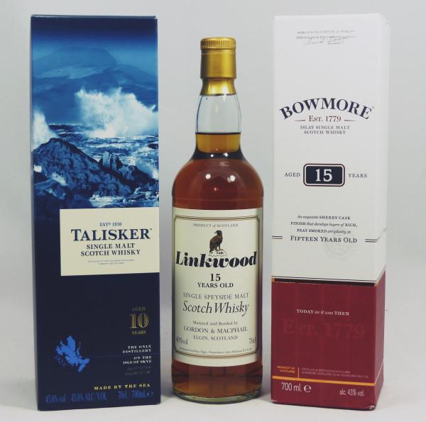 Single Malt Whisky - 3-Regionen-Konvolut (6) - Bowmore 15Y, Talisker 10Y, Linkwood 15Y