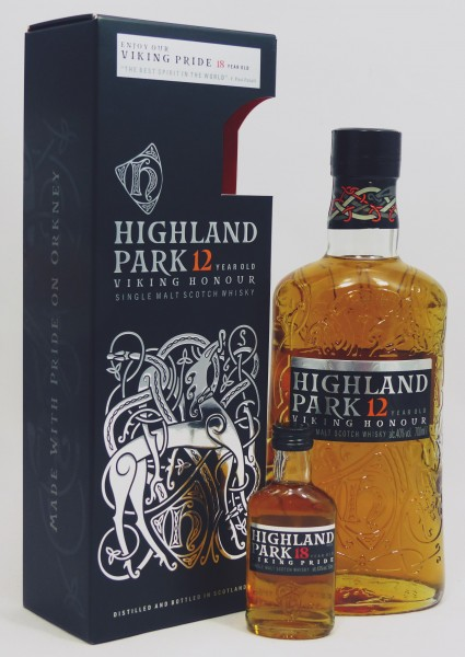 Highland Park 12 Jahre Vinking Honour mit Minature HP 18Y Vinking Pride