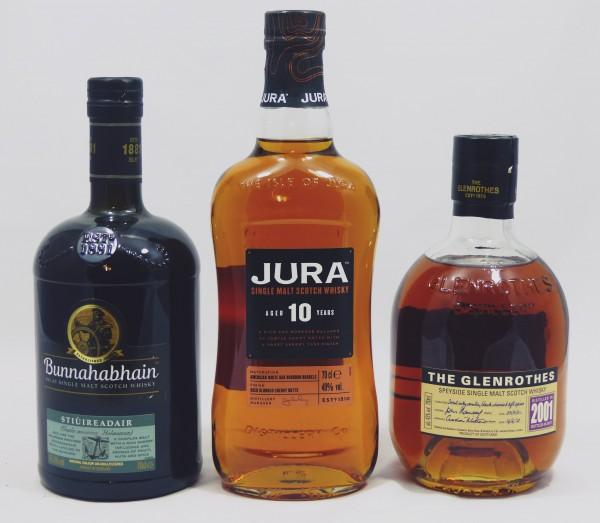 Single Malt Whisky 3-Regionen Konvolut (7), Jura 10Y, Bunnahabhain Stuiireadair, Glenrothes 2001/201
