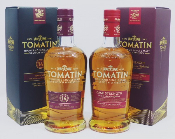 2 Flaschen Tomatin - Cask Strength 57.5% & 14 years Port Casks 46%