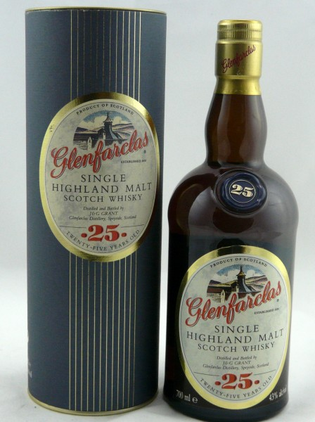 "Glenfarclas 25 Years old Label ""25"" in seal on bottle shoulder"