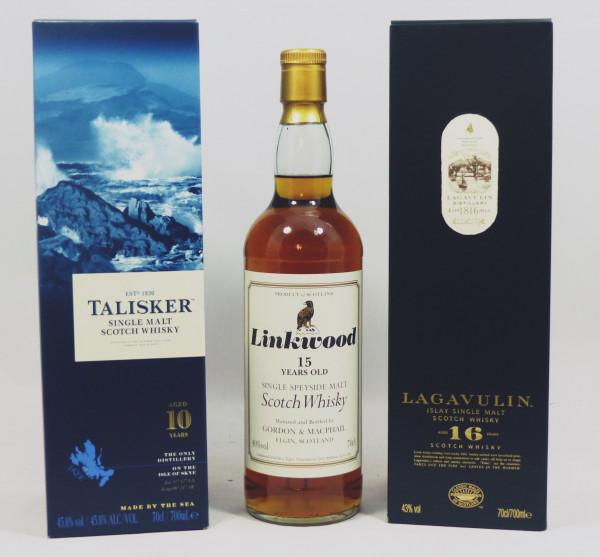 Single Malt Whisky - 3-Regionen-Konvolut (6) - Lagavulin 16Y, Talisker 10Y, Linkwood 15Y