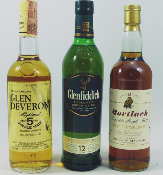 Single Malt Whisky - 3 Flaschen 3 Jahrzehnte Speyside: Glen Deveron - Mortlach - Glenfiddich