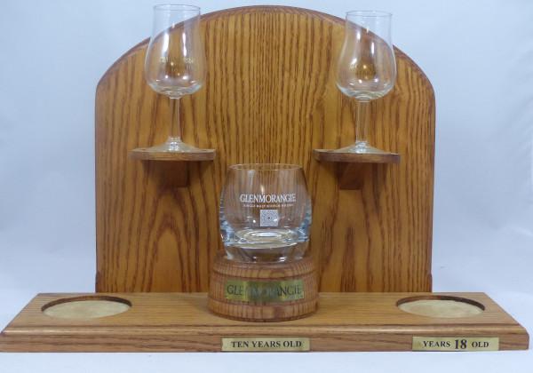 Glenmorangie Barständer /-display mit Original Tumbler und 2 Nosinggläsern