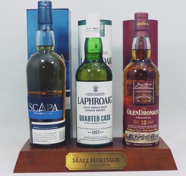 Barständer /-Display Malt Heritage mit 3 Flaschen a 70cl, Laphroaig Glendronach Scapa