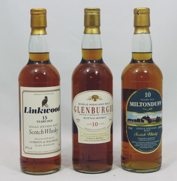 Single Malt Whisky - Speyside Konvolut (3) - Glenburgie Linkwood Miltonduff 3x70cl
