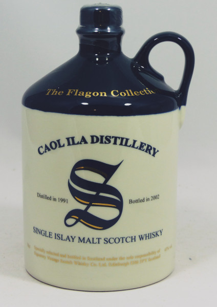 Caol Ila Signatory Vintage 1991 b. 2002, The Flagon Collection, Ceramic Decanter