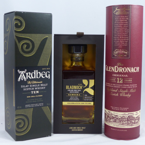 Single Malt Whisky - 3-Regionen-Konvolut (6) - Ardbeg TEN, Glendronach 12Y, Bladnoch Samsara