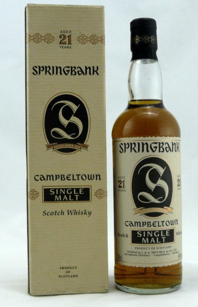 Springbank 21 Years Old Style Wellenlabel Jagged Label
