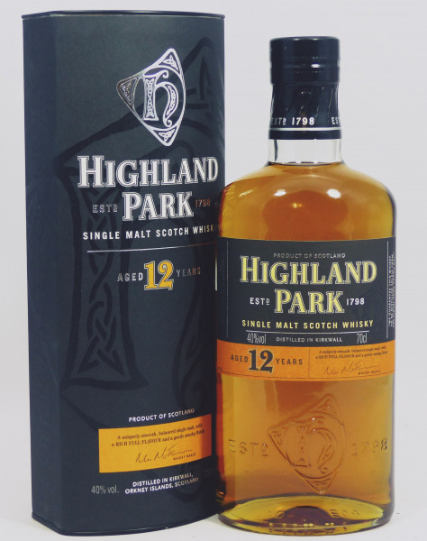 Highland Park 12 Jahre ältere Abfüllung - black/orange Label