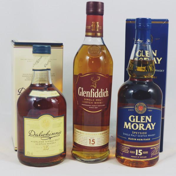 Single Malt Whisky - 3 Flaschen 15Y Highland/Speyside-Konvolut (11) Dalwhinnie - Glenfiddich - Glen