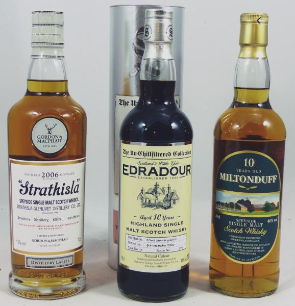 Single Malt Whisky - 3 Flaschen Highland/Speyside-Konvolut (10) - Strathisla - Edradour - Miltonduff