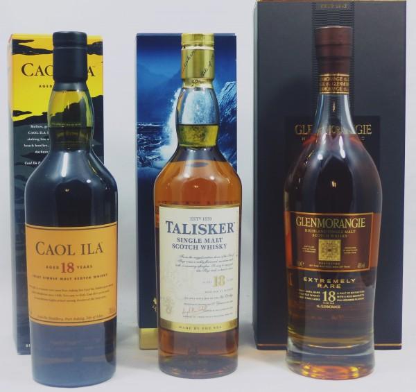 Single Malt Whisky 18 years - 3-Regionen-Konvolut (8) - Caol Ila 18Y, Talisker 18Y, Glenmorangie 18Y