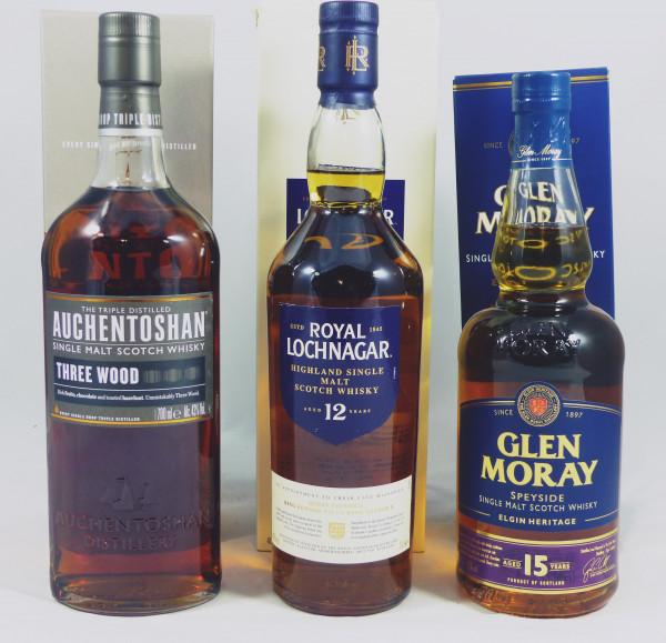 Single Malt Whisky -3 Regionen Konvolut (3) - Auchentoshan Three Wood, Lochnagar 12Y, Glen Moray 15Y