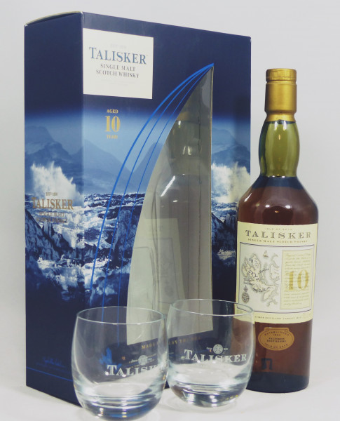 Talisker 10 Jahre - old Map Label in GP mit 2 Tumblern