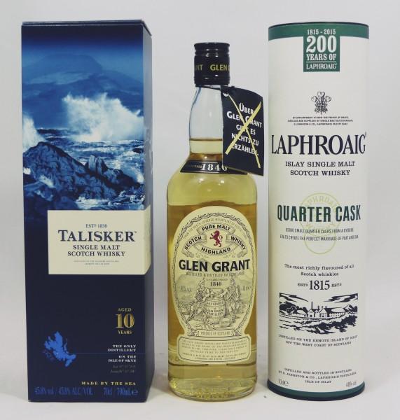 Single Malt Whisky - 3 Regionen Konvolut (2) - Laphroaig Talisker Glen Grant 3x70cl