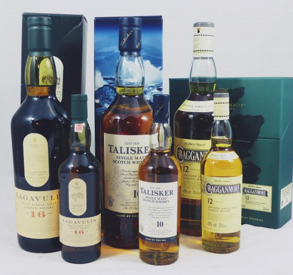 Classic Malts of Scotland - 6 Flaschen Lagavulin Talisker Cragganmore je 70cl + 20cl
