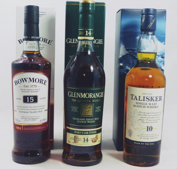 Single Malt Whisky - 3-Regionen-Konvolut (8) - Bowmore 15Y, Talisker 10Y, Glenmorangie Quinta Ruban-