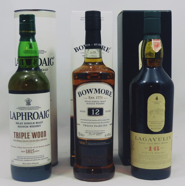 Single Malt Whisky Islay-Konvolut (1) - Lagavulin Laphroaig Bowmore 3x70cl