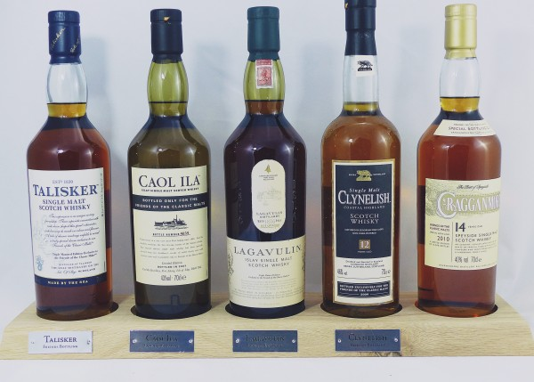 Friends of Classic Malts Barständer /-display mit 5 Flaschen Lagavulin Talisker Caol Ila Clynelish C