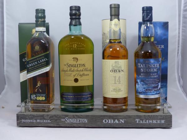 Single Malt Barständer /-display mit 4 Flaschen Oban Talisker Dufftown Johnnie Walker Gold Label 18Y