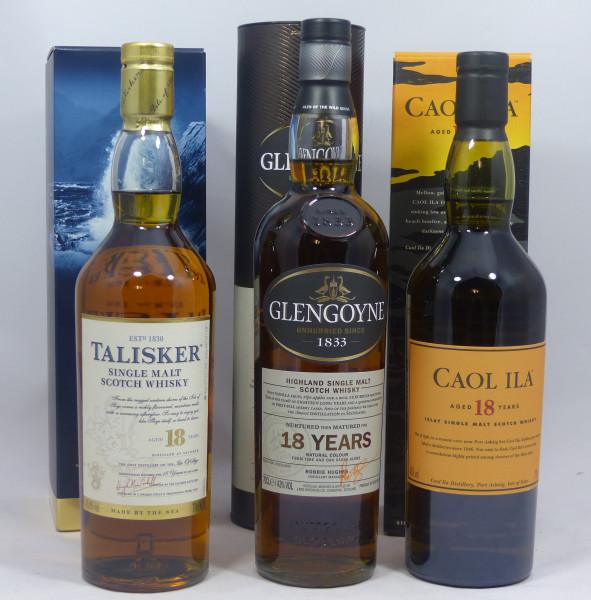 Single Malt Whisky 18 years - 3-Regionen-Konvolut (8) - Caol Ila 18Y, Talisker 18Y, Glengoyne 18Y