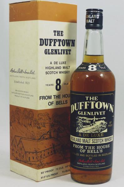 Dufftown Glenlivet 8 years A De Luxe Whisky 80 Proof - 70's