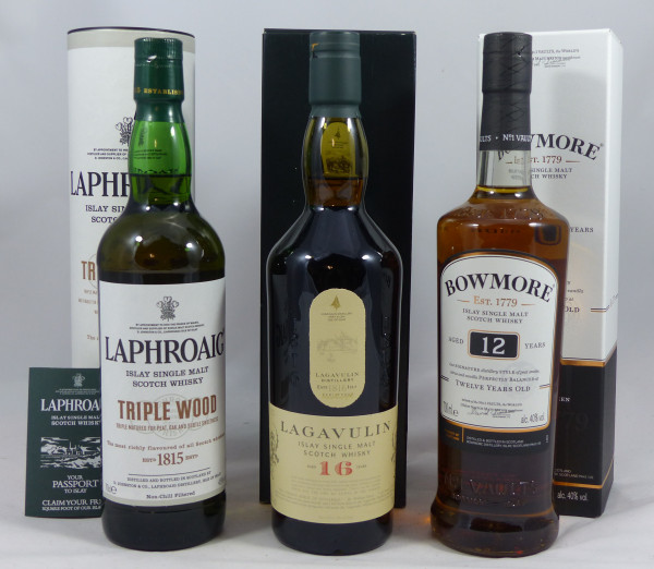 Single Malt Whisky Islay-Konvolut (1) - Lagavulin Laphroaig Bowmore 3x70cl